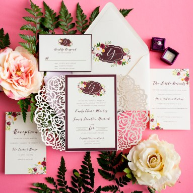 Lasercut Monogram Wedding Invitation