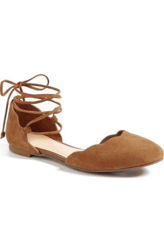 Lace-Ups are STILL in. I don't see this trend leaving anytime soon. All I see is more of this trend. Adding a cute lace up to these scalloped ballet flats, you are sure to stand out while pairing with boyfriend jeans. Only The Sophie Lace Up Flat is 59.95 from B.P. at Nordstrom. http://shop.nordstrom.com/s/bp-sophie-lace-up-flat-women/4476937?origin=category-personalizedsort&fashioncolor=COGNAC%20SUEDE