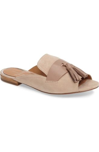 Backless loafers had officially entered the building. As Gucci introduced this incoming style, other affordable brands have designed a similar look. This 'Linea Paolo' Fling Tassel Loafer retails for 109.95. http://shop.nordstrom.com/s/linea-paolo-fling-tassel-loafer-mule-women/4588122?origin=category-personalizedsort&fashioncolor=DUSTY%20ROSE%20SUEDE