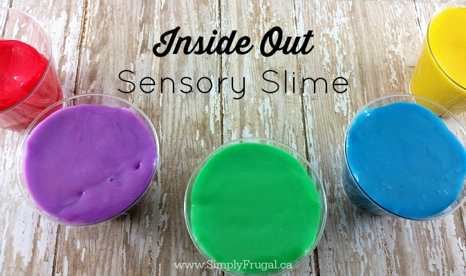 Inside Out Sensory Slime: This is a fund activity for kids AND adults! The slime takes on the shape of whatever container it's in, breaks apart easily, and stretches out too!