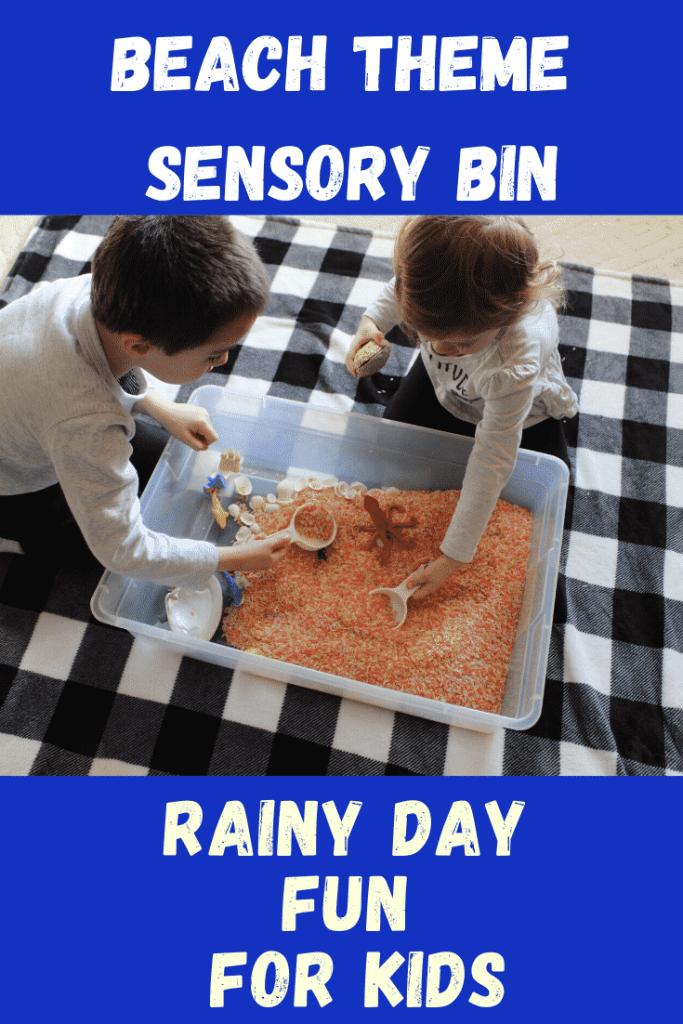Beach Theme Sensory Bin - 4 sensory bin activities for Rainy day fun for kids!  #sensorybin #beach #ocean #teachingyourkids #parenting