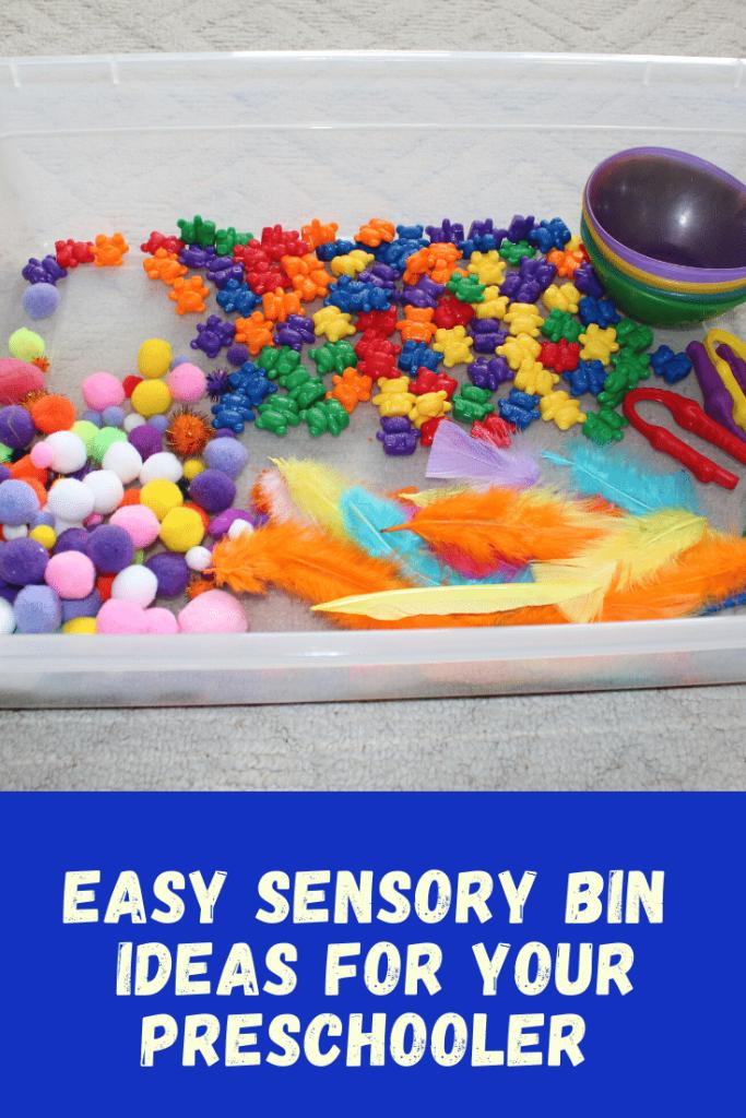Easy Sensory Bin Ideas For Your Preschooler - 4 fun and simple sensory bins  #funforkids #preschool #sensorybin #easysensorybins