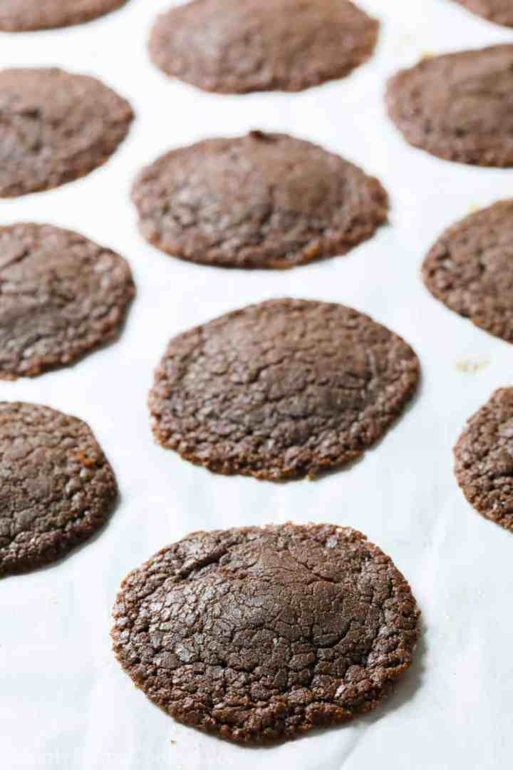 baked Nutella cookies on a baking sheet lined with parchment paper