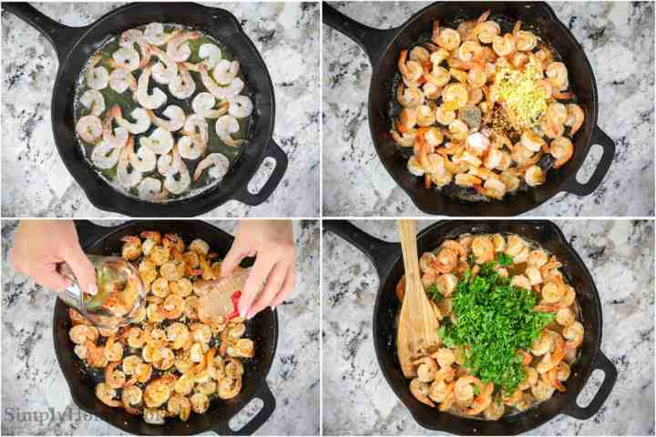an overhead image collage of steps to make an easy shrimp scampi recipe