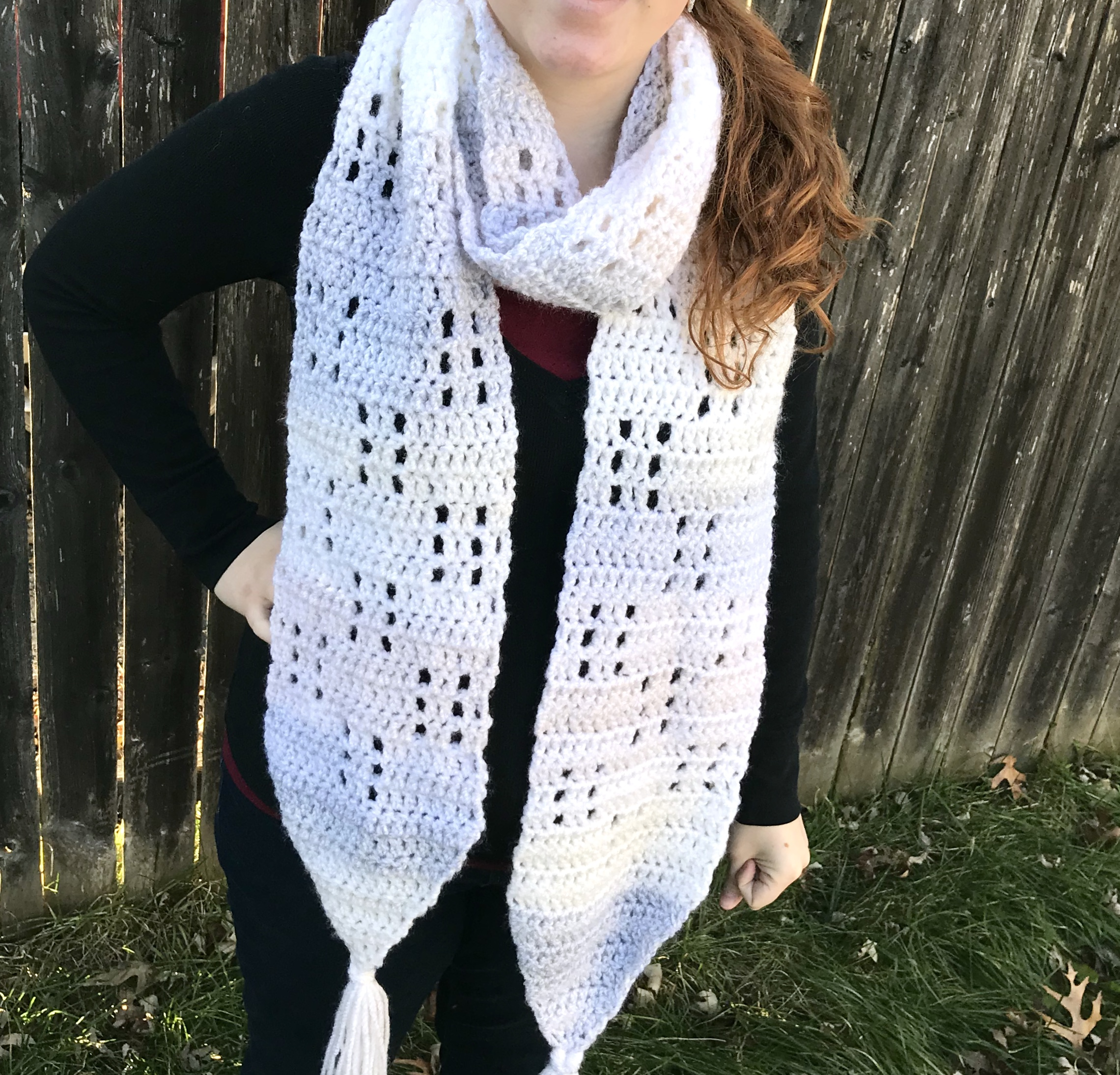 Large White Crochet Scarf
