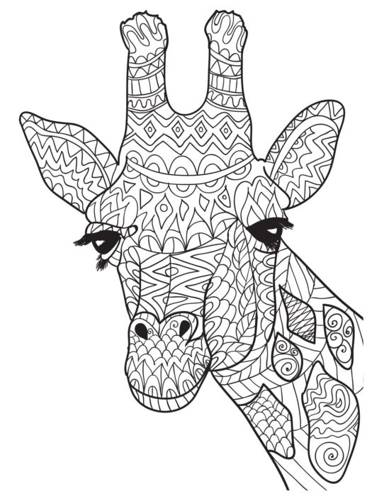 Giraffe Themed Free Adult Coloring Pages