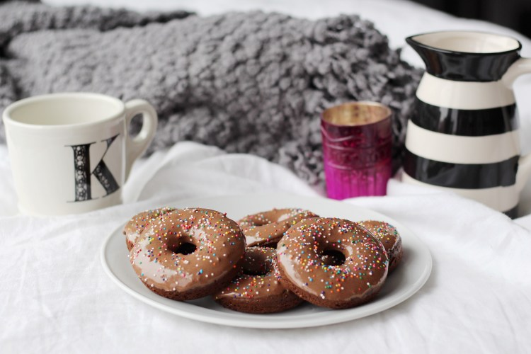 Breakfast in Bed: Double Chocolate Doughnuts