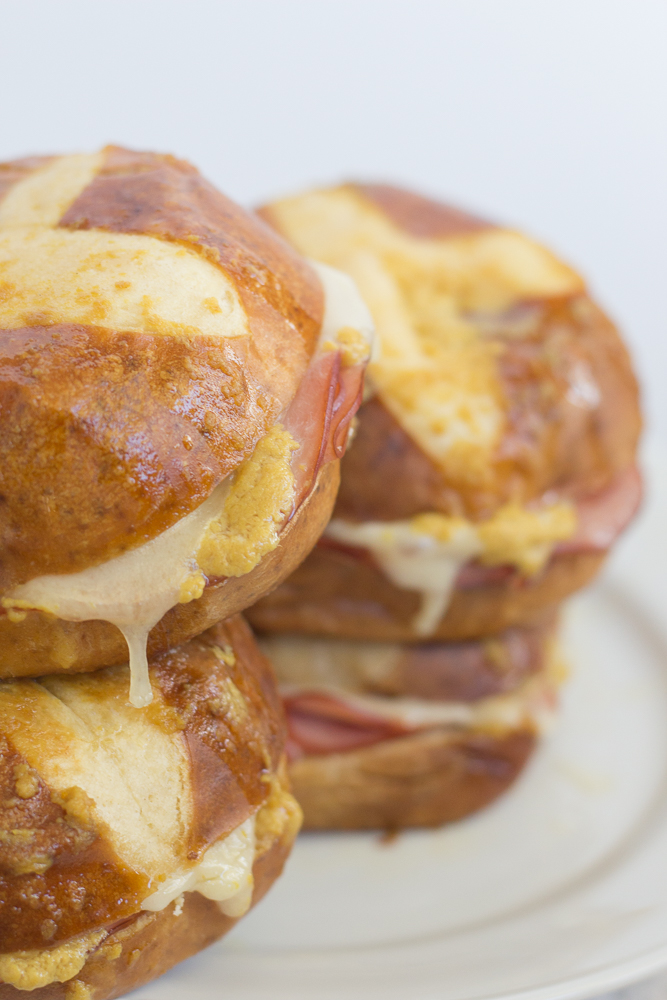 20 Minute Baked Ham and Cheese Pretzel Sandwiches