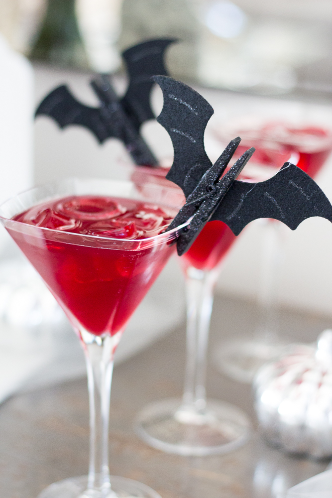 Ghoulish Halloween Bar & Blood Red Vodka Cocktail