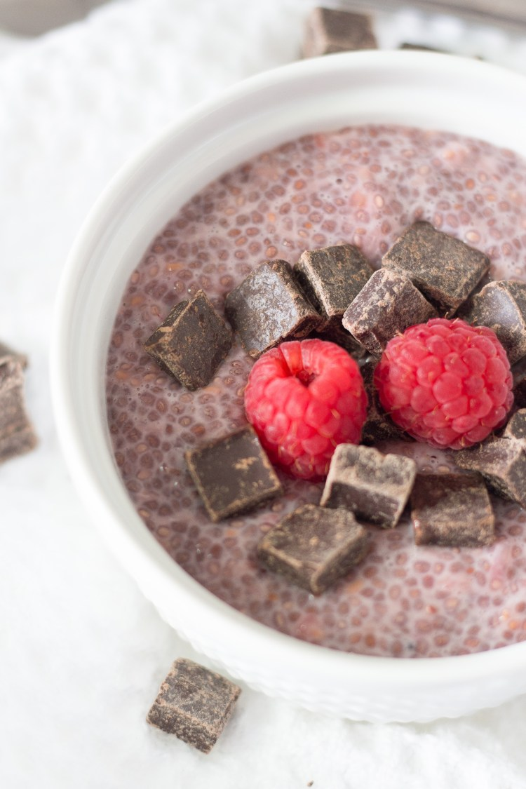 Raspberry Chia Pudding with Dark Chocolate Chunks