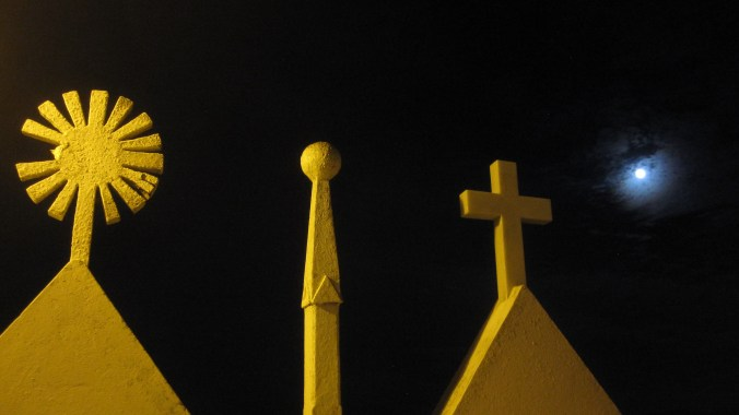 Symbols of the cemetery with full moon