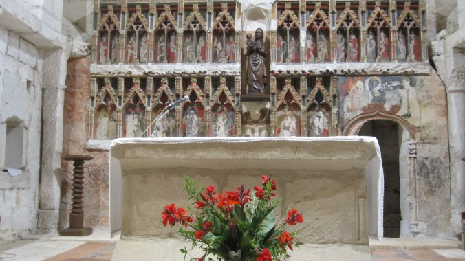 Gothic frescoes behind the altar