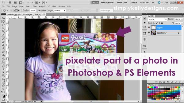 Video Tutorial: Pixelate Part of a Photo in Photoshop and Photoshop Elements by Simply Kelly Designs