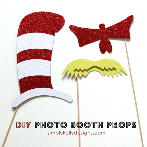 DIY Dr Seuss Photo Booth Props by Simply Kelly Designs #drseuss #photoboothprops #catinthehat #lorax