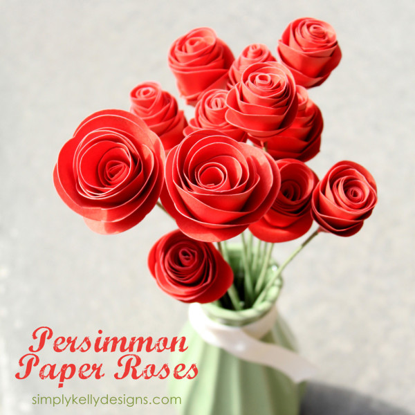 Persimmon Paper Roses by Simply Kelly Designs #roses #paperroses #papercrafting #Silhouette