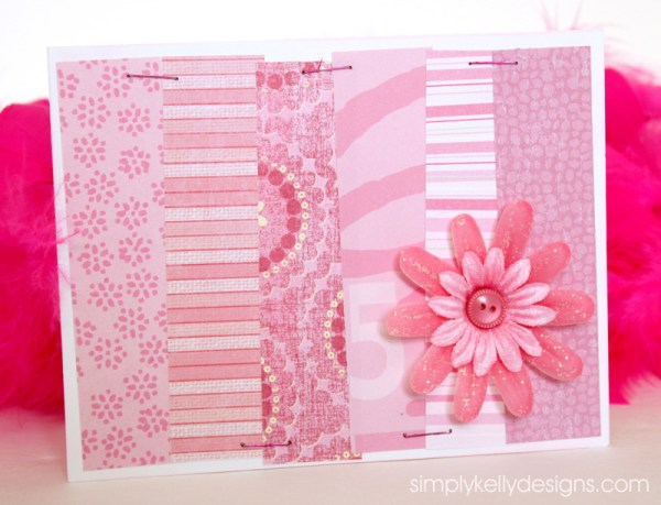 pink all occasion card using scrapbook paper scraps by Simply Kelly Designs