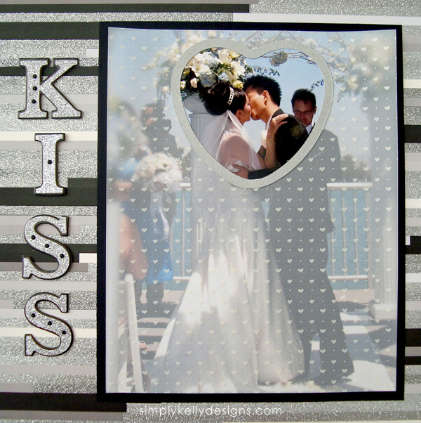 DIY Classic Wedding Scrapbook: First Kiss by Simply Kelly Designs #wedding #weddingscrapbook #blackandwhite #scrapbooking