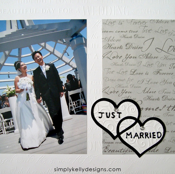 DIY Classic Wedding Scrapbook: Just Married by Simply Kelly Designs #wedding #weddingscrapbook #blackandwhite #scrapbooking
