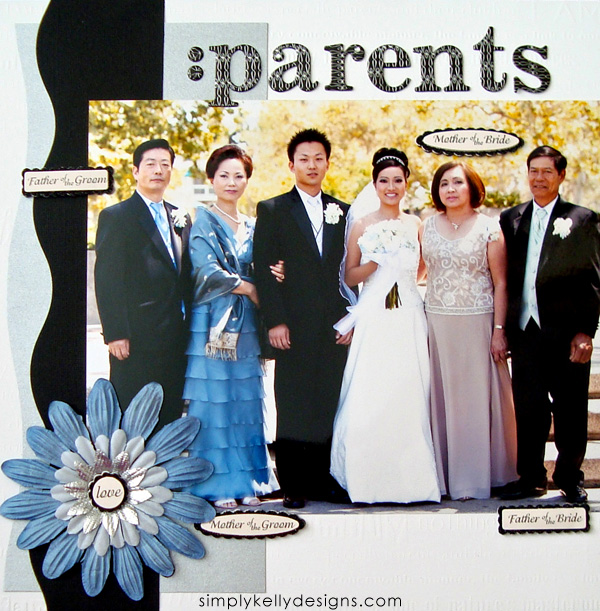 DIY Classic Wedding Scrapbook: Parents by Simply Kelly Designs #wedding #weddingscrapbook #blackandwhite #scrapbooking