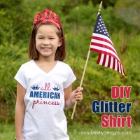 DIY Glittery All American Princess Shirt With Free Cut File