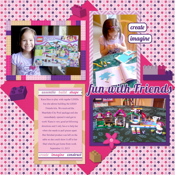 LEGO Friends Scrapbook Layout by Simply Kelly Designs #LEGO #digiscrap