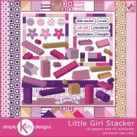 Little Girl Stacker Digital Scrapbooking Kit by Simply Kelly Designs