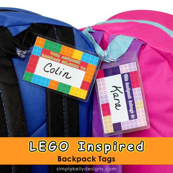 LEGO inspired backpack tags by Simply Kelly Designs