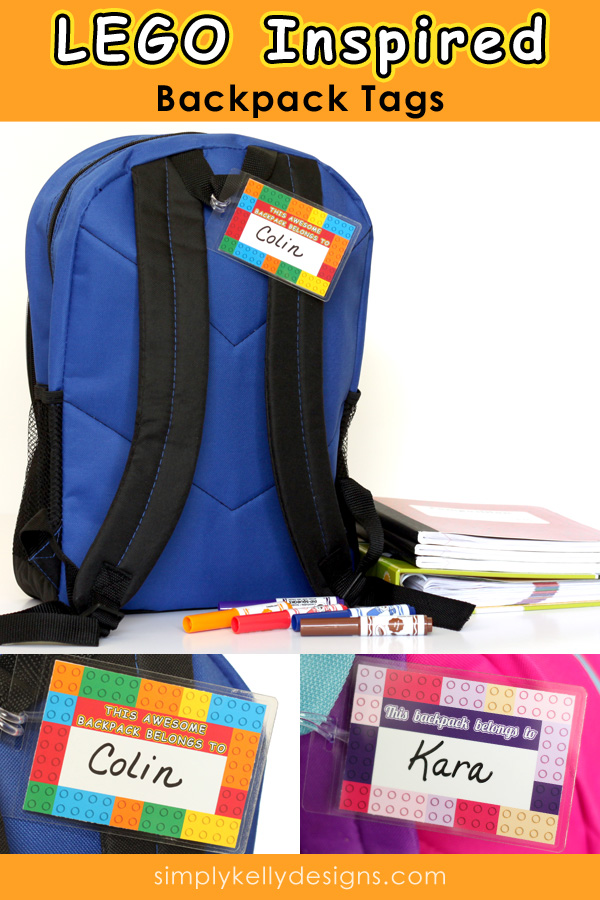 picture relating to Printable Backpacks named LEGO Influenced Printable Backpack Tags