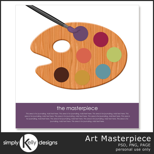 Art Masterpiece Digital Scrapbook Template by Simply Kelly Designs #digiscrap #template #page