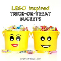 LEGO Inspired Trick or Treat Buckets With Free Printable