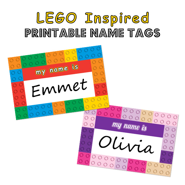 graphic relating to Printable Name Tags titled LEGO Motivated Printable Popularity Tags