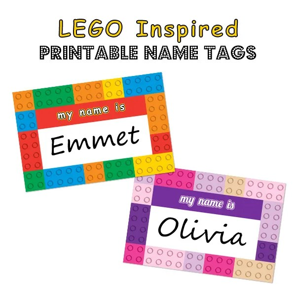 LEGO Inspired Printable Name Tags by Simply Kelly Designs #LEGO #LEGOFriends #printable #Silhouette