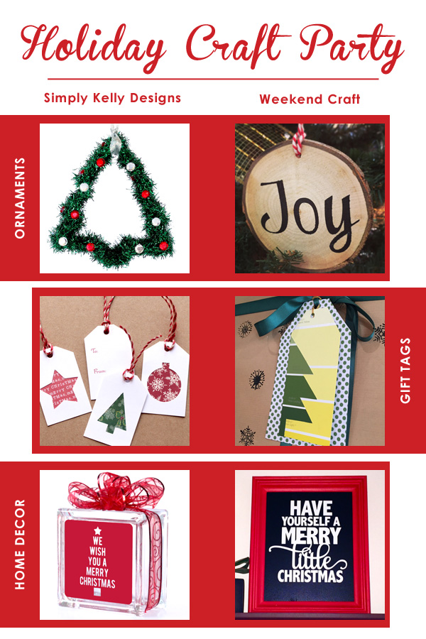 Holiday Craft Party Roundup by Simply Kelly Designs #holidaycraftparty #ChristmasDIY #ornaments #gifttags #homedecor