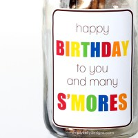 Birthday Smores In A Mason Jar Gift With Free Printable