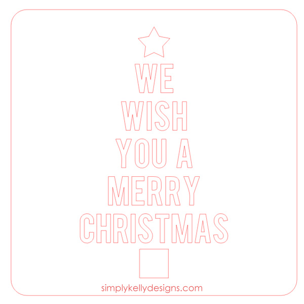 We Wish You A Merry Christmas Glass Block With Free Cut File by Simply Kelly Designs #christmas #christmasdecor #christmastree #vinyl #Silhouette #freecutfile #glassblock