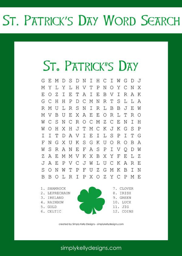 Free St. Patricks Day Word Search Printable by Simply Kelly Designs