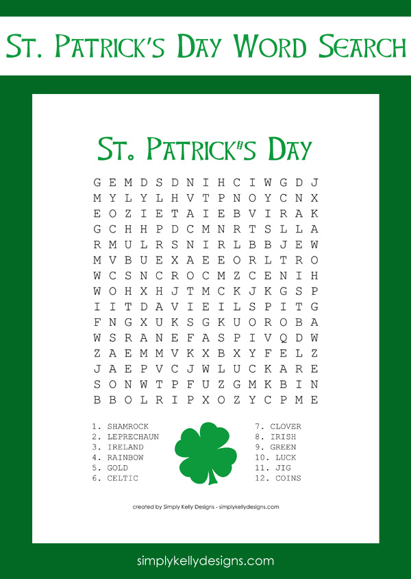 photo regarding St Patrick Word Search Printable named No cost St. Patricks Working day Term Seem Printable