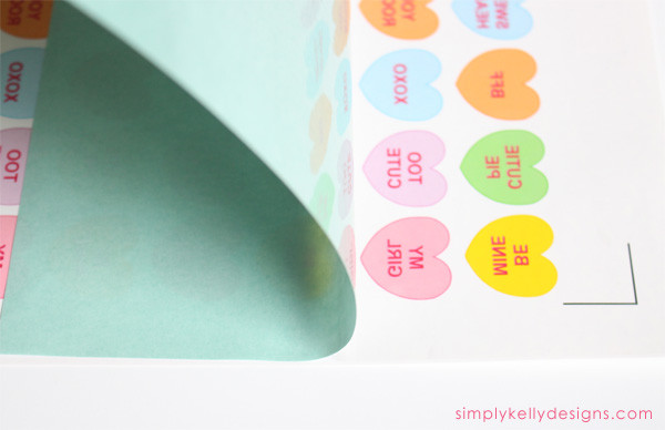 DIY Conversation Hearts Temporary Tattoos by Simply Kelly Designs #conversationhearts #temporarytattoos #SilhouetteRocks #printable #valentinesday
