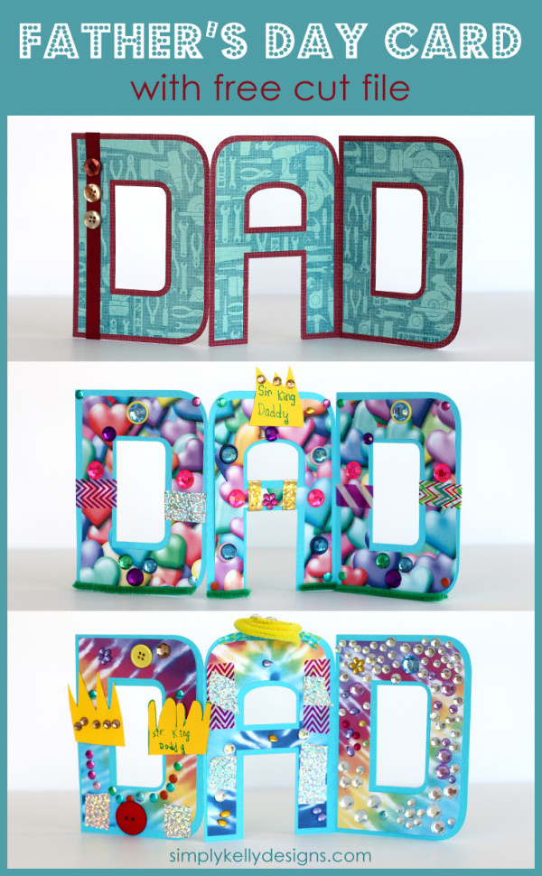 free cut file for a DAD accordian fold Father's Day card - in Silhouette Studio and SVG formats