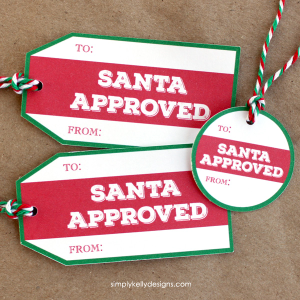 Download these free printable Santa Approved gift tags for the perfect finishing touch for your Christmas gift wrapping