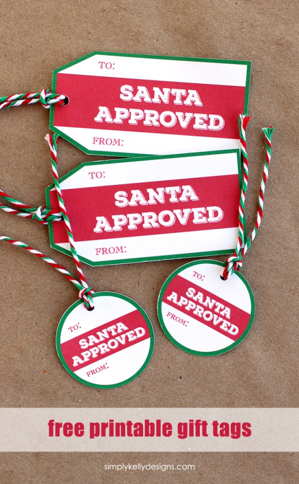 Download these free printable Santa Approved Christmas gift tags for the perfect finishing touch for your gift wrapping