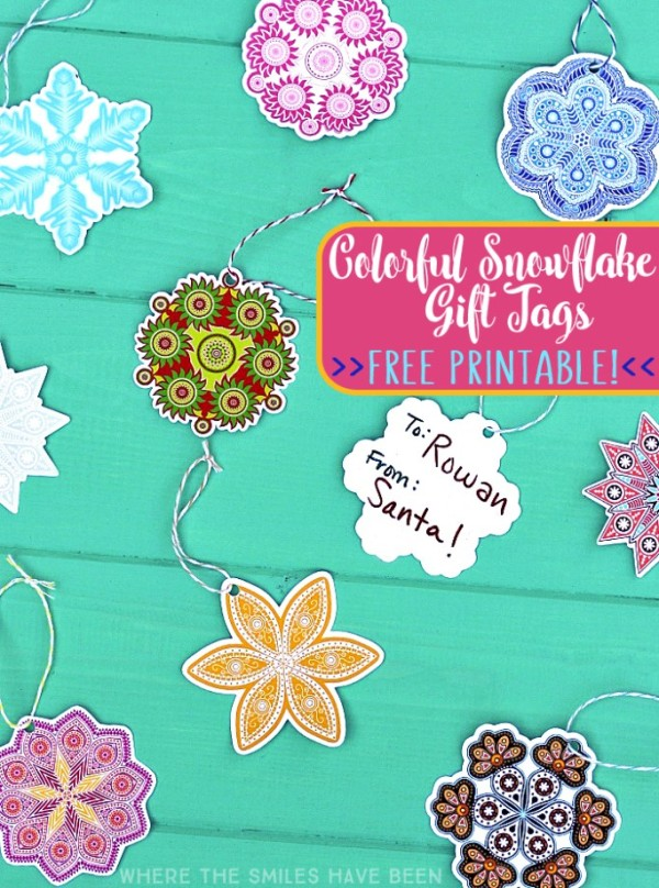 Colorful Snowflake Gift Tags by Where The Smiles Have Been