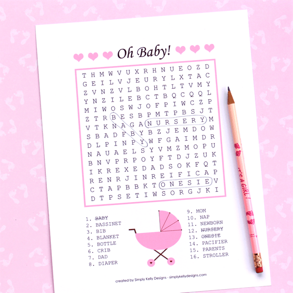 printable baby word search