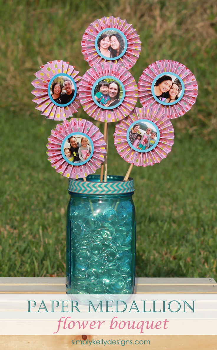 Create a paper medallion flower bouquet featuring photo centers for a great Mother's Day or birthday gift!