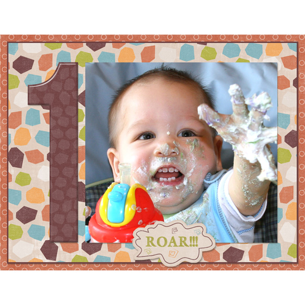 1st birthday - uses Single Numbers 11x8.5 Templates by Simply Kelly Deisgns and Dinosaur Stomp by Mindy Terasawa