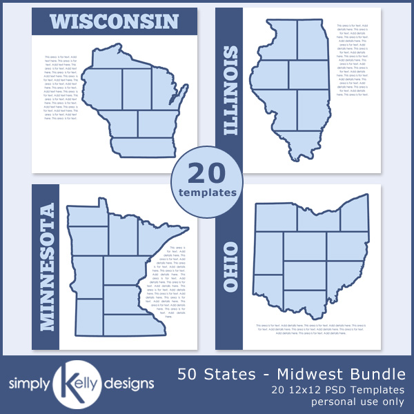 50 States - Midwest Bundle digital scrapbook templates by Simply Kelly Designs