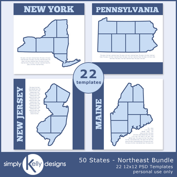 50 States - Northeast Bundle digital scrapbook templates by Simply Kelly Designs