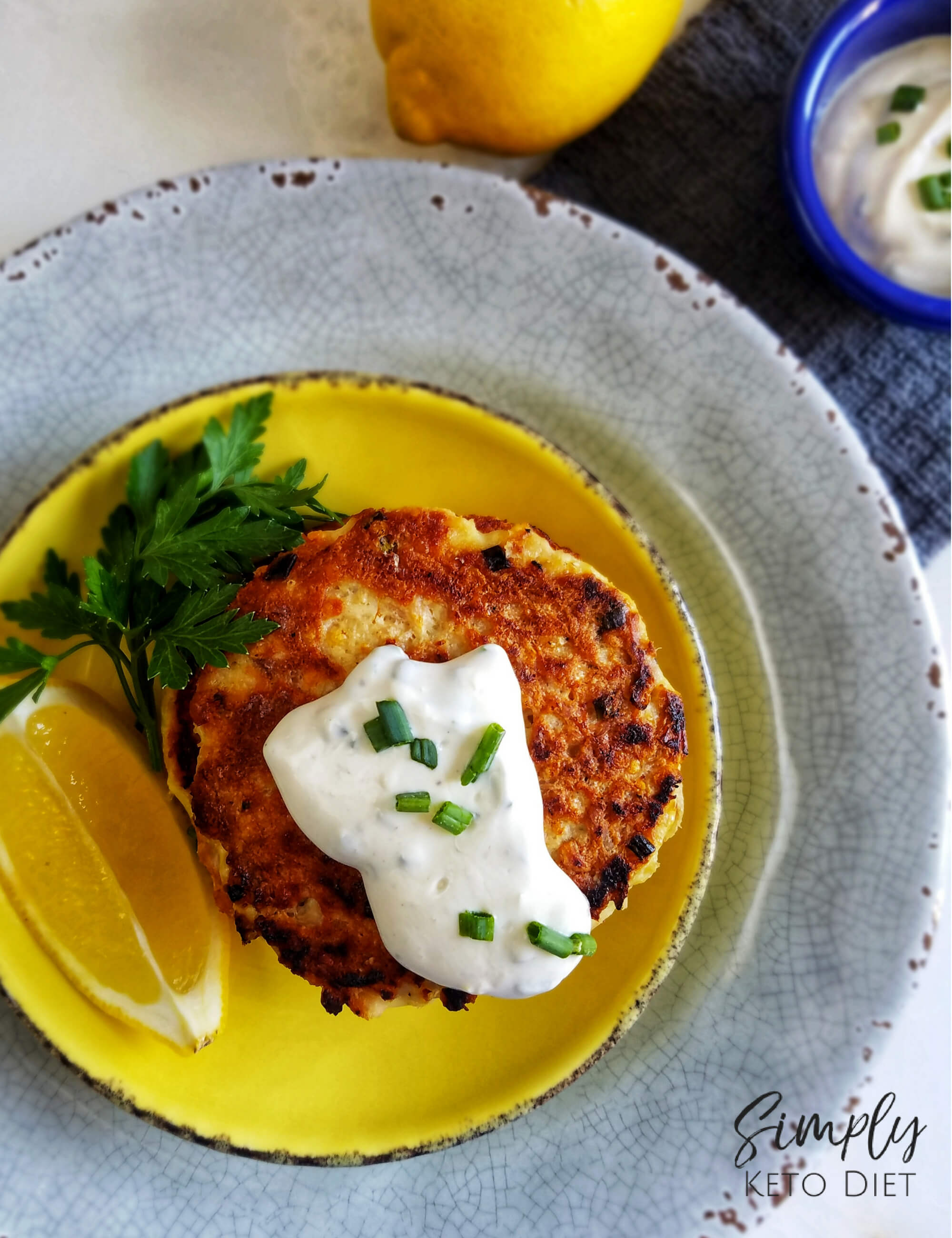 Low Carb Keto Tuna Cakes with Lemon Dijon Sauce