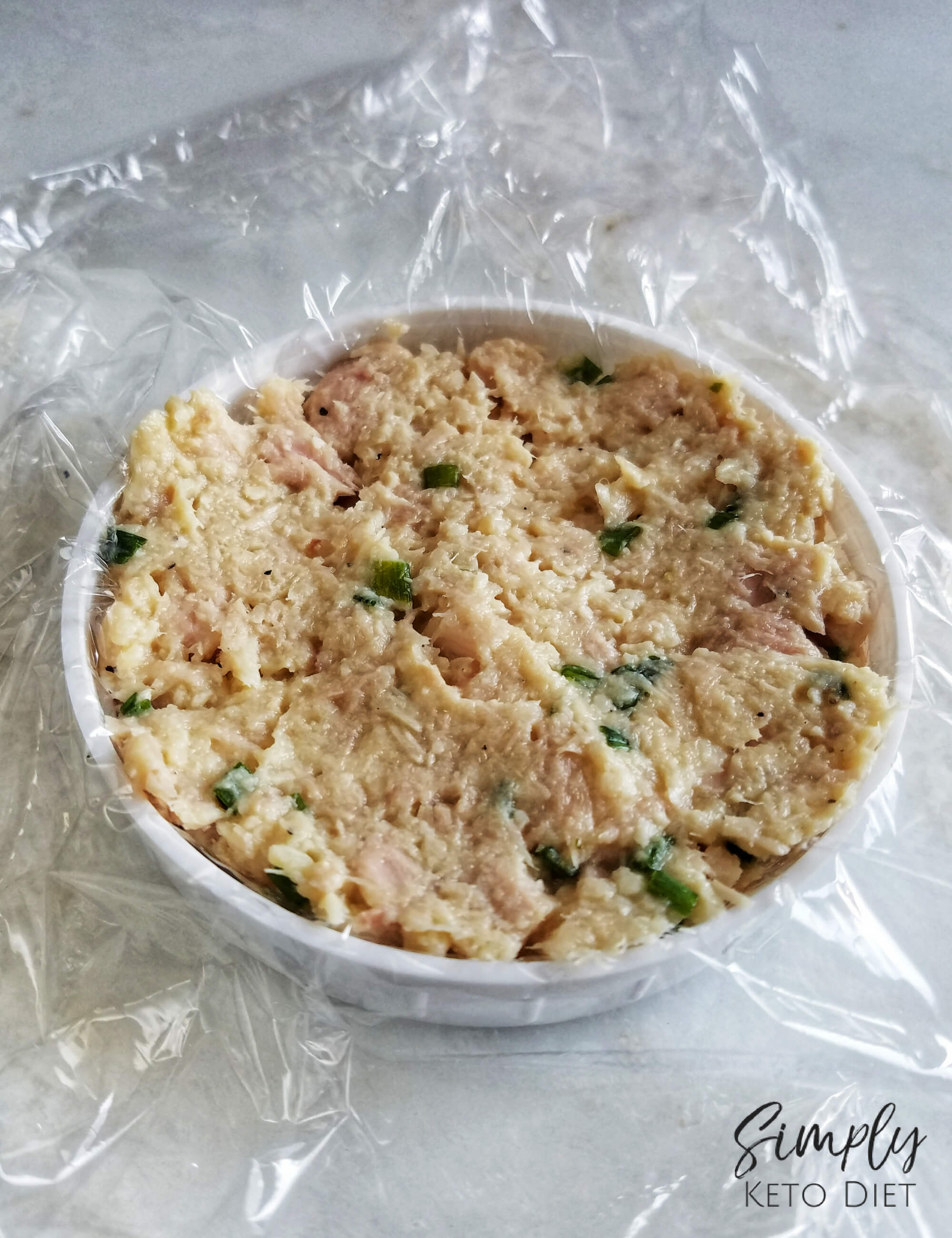 Form your tuna cakes using plastic wrap and a mason jar lid for best results