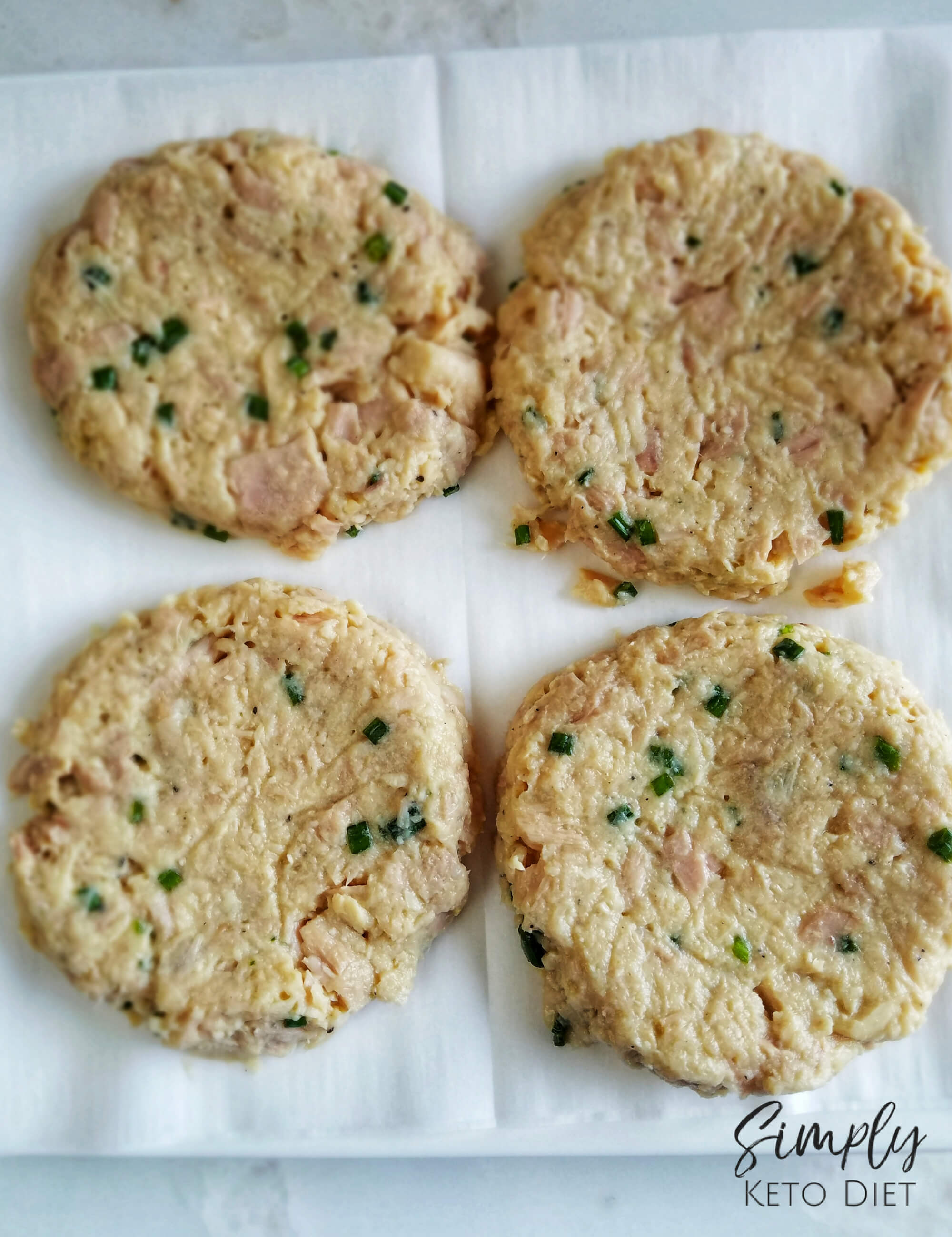 Lay your tuna cakes on parchment paper on a plate for easy access with a spatula